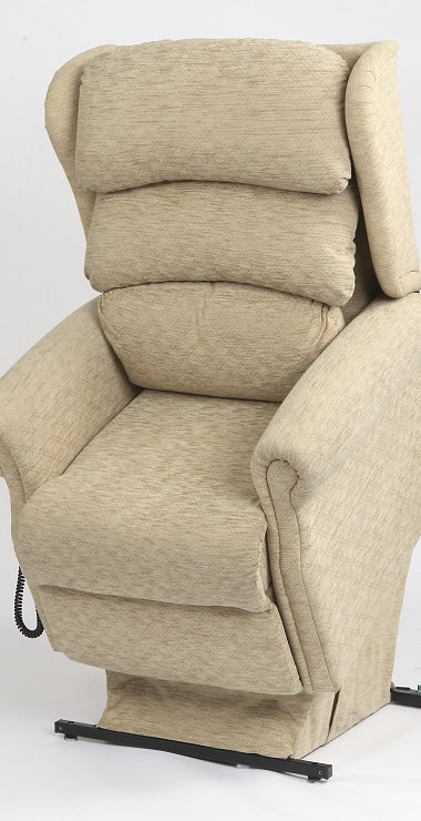 Rise/recline chair in raised position