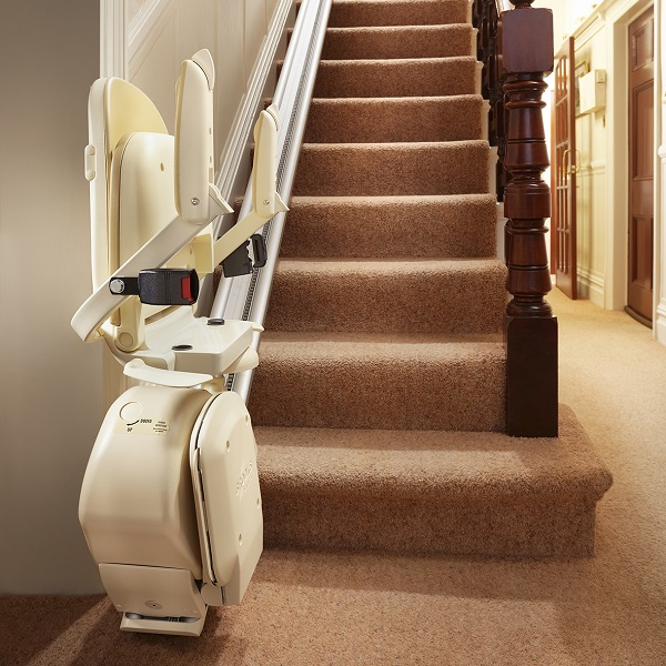 Folded seat on Brooks stairlift