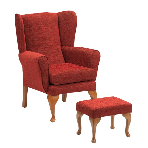 Queen Anne fireside chair with footstool