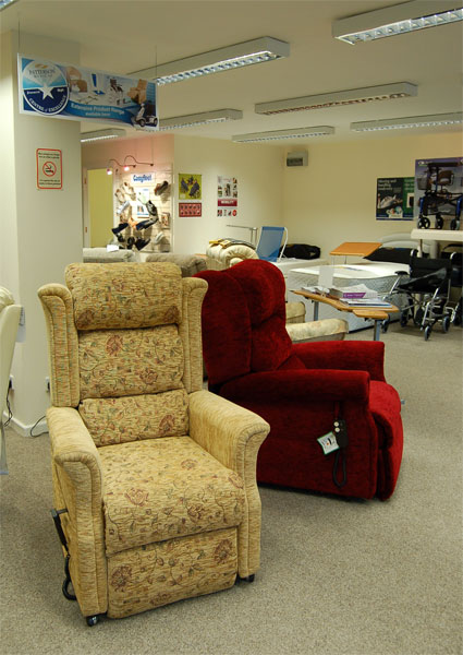 Recliner chairs in Haven Mobility showroom