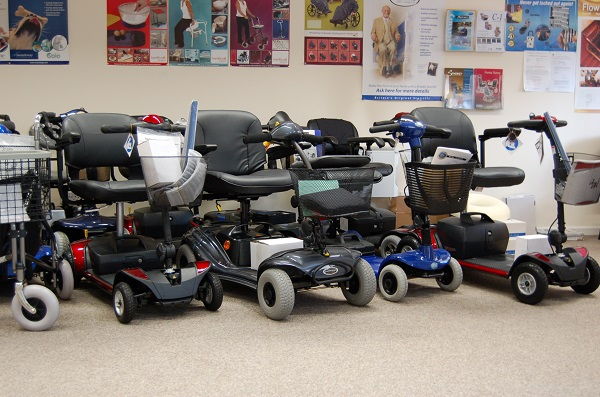 Mobility scooters in Haven Mobility showroom